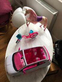 Barbie car, bicycle and horse