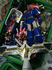 Large collection of original Power Rangers toys