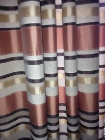 "90"" drop striped curtains and 2 cushions"