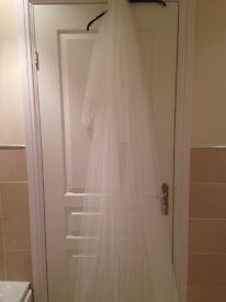 Ivory full length bridal veil with Swarovski crystals.