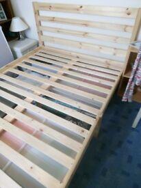 Scandinavian pine double bed frame