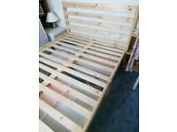 Scandinavian pine double bed frame