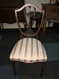 Nice Antique Mahogany Inlaid Shield Back Occasional Chair