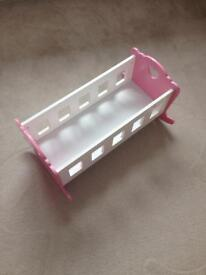 Wooden toy cot