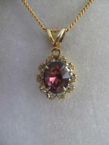 GORGEOUS VINTAGE 18-in. ULTRA-FINE CHAIN NECKLACE with AMETHYST-GEMMED PENDANT