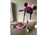 Girls Minnie mouse scooter and helmet
