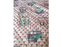 Girls camper van throw over