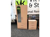 Heavy beechwood combination wardrobe and matching chest of drawers £135