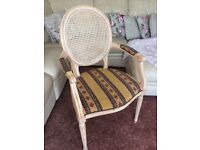 4 Carver chairs, limed oak wood with fabric seat, french louis style