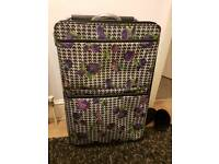 Superlight weight vintage retro style floral houndstooth print suitcase