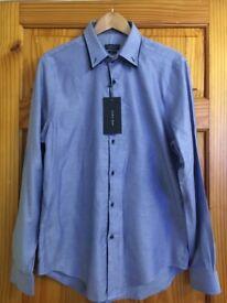 Zara Man Slim Fit Blue Double Collar Shirt XL