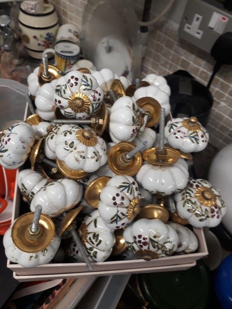Vintage Door knobs doorknobs handles ceramic.