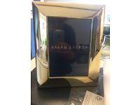 """Ralph Lauren Beckbury 5""""x7"""" 18 Karat Gold Plated Picture Frame"""