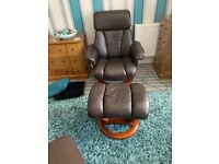 Stunning High Backed Real Leather Recliners with footstools