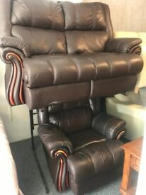 Designer Real leather 2 & 1 armchair fully Recliner nice smart set