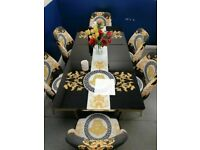 😍💕VERSACE DESIGN💕💕EXTENDABLE DINING TABLE AND 6 CHAIRS WITH DELIVERY OPTIONS