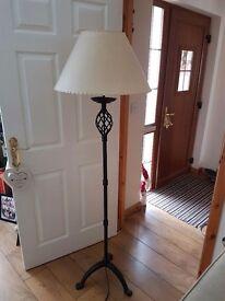Cream and black floor lamp