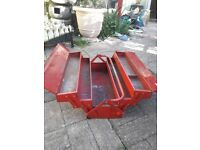 Metal tool box large in Red
