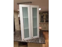 Pair of Bathroom Wall Cabinets with Tinted Glass Doors
