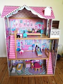 Very large wooden dolls house with ELC dolls & furniture - ideal for Barbie dolls