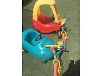 Little tikes cars and balance bikes