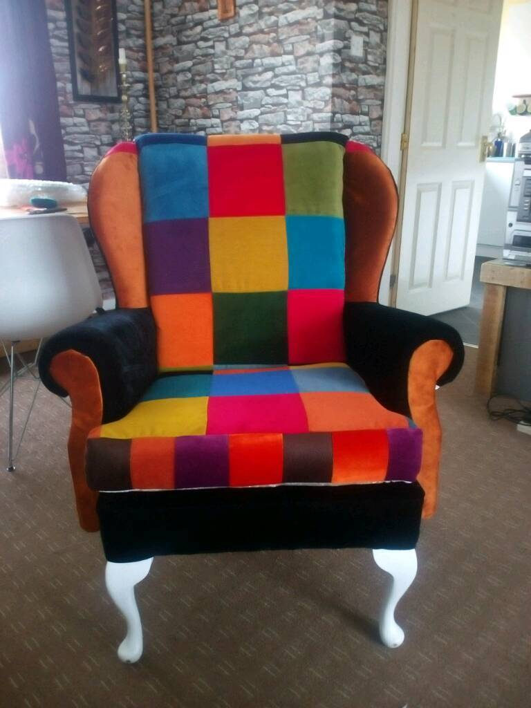 Armchair. Designer newly reupholster wing back chair | in ...