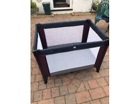 Mamas and Papas Travel Cot - good as new, barely used M&P travel cot in plum / grey, with travel bag