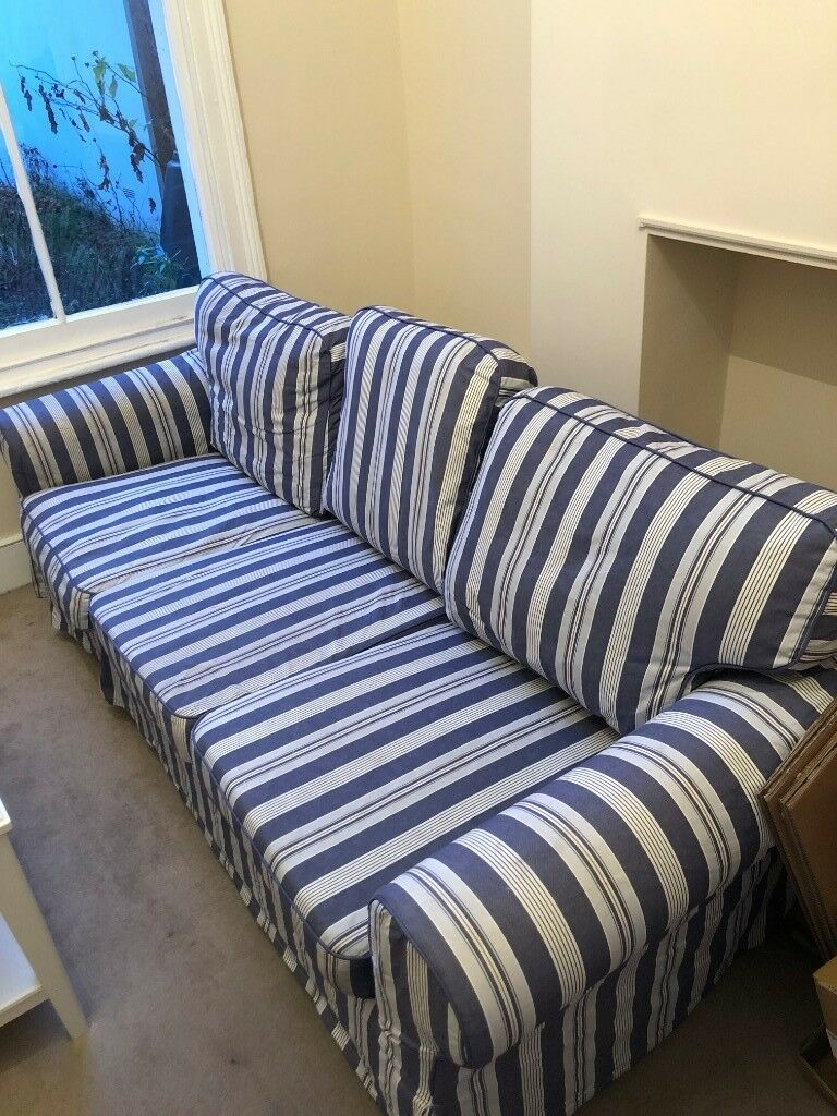 Large 3 Seater Blue White Striped Fabric Sofa In Wimbledon London Gumtree