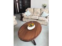 Oval mahogany coffee table