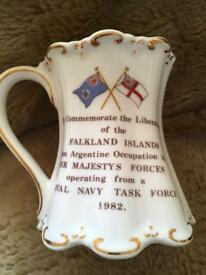 China mug commemorating Falkland's liberation