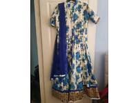 Blue and white floral long wedding/party dress