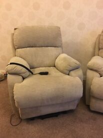 1 x Chair (electric recliner, tilt & lift) & 2 Seater settee (manual recliner) 2 years old. VGC.