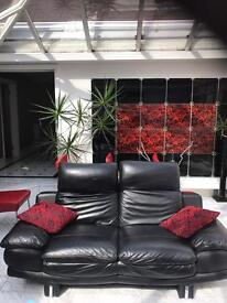 Black 2 seater real leather sofa £50!!