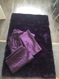 Thick purple rug with matching curtains!!!