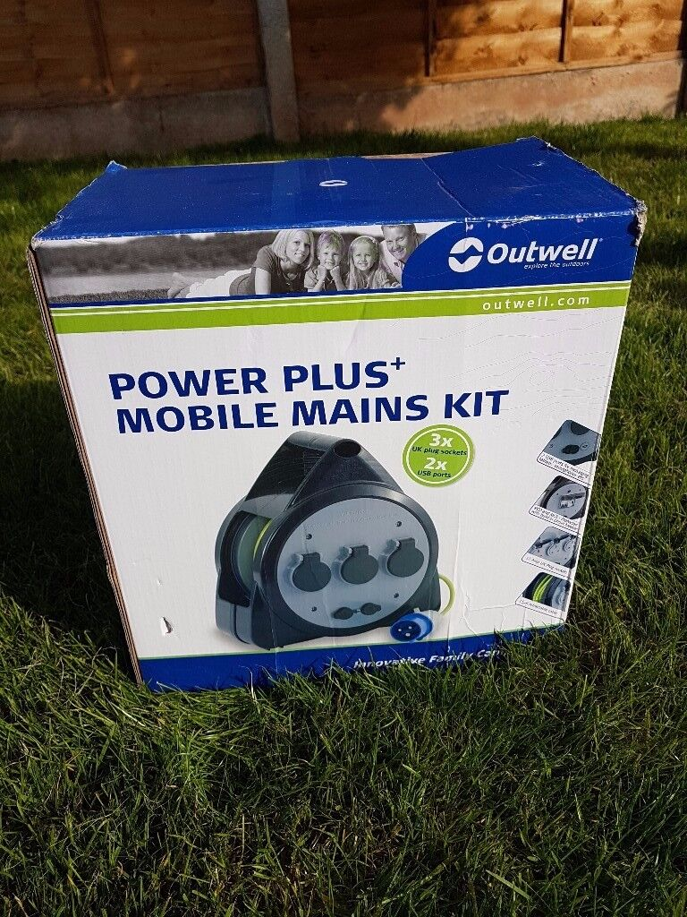 Outwell power plus mobile mains unit for camping. Easy mains power and USB charging.