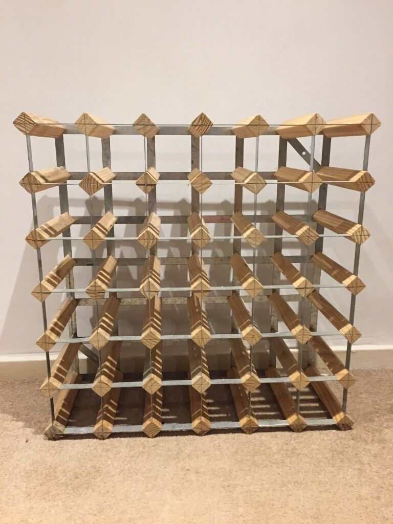 36 Bottle Wooden And Metal Wine Rack For Sale In Cambridge