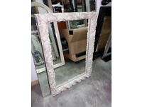 74cm x 105cm Ornate Mirror in Stone Coloured Frame, £85