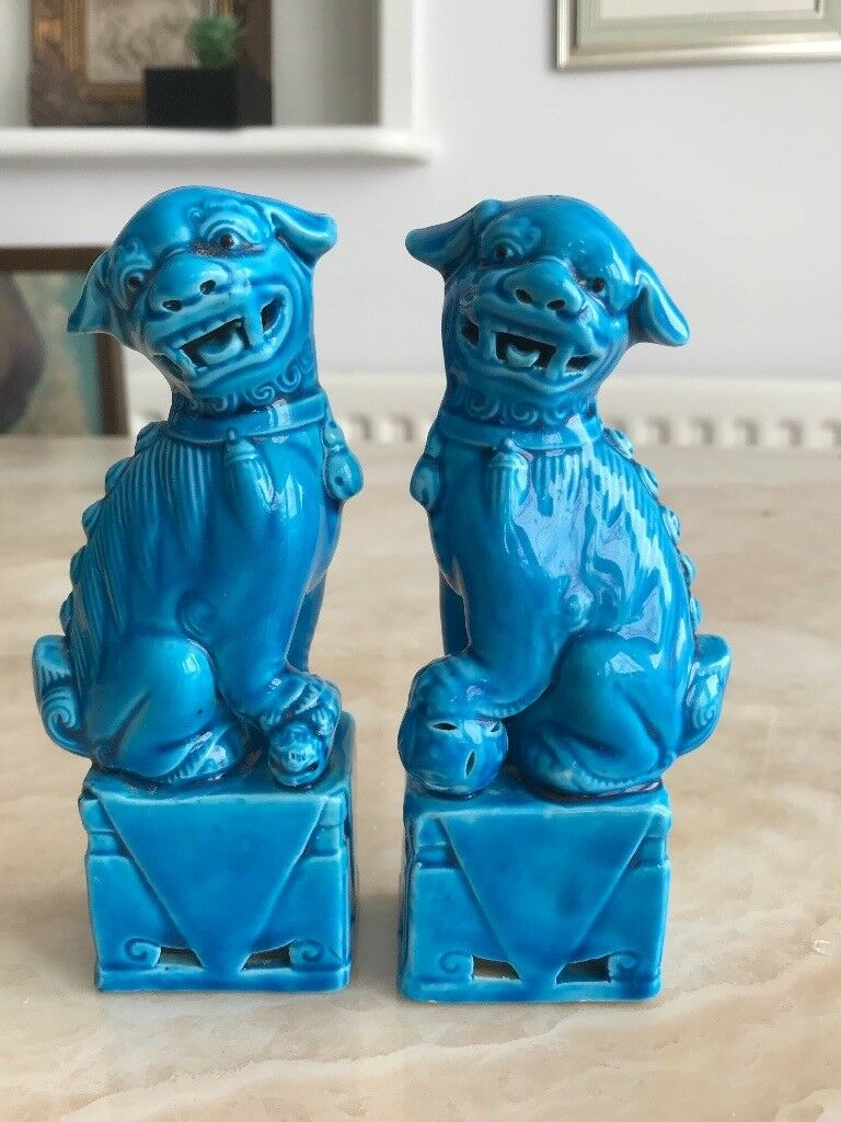 Vintage Chinese Foo Dogs Blue Porcelain In Bournemouth Dorset