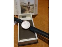 Daniel Wellington Ladies Watch Rose Gold with Black Leather Strap