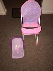 Dolls high chair & carrier