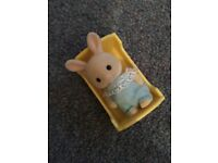Sylvanian families baby, cot, double buggy and toys