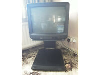 Vintage 21in; CRT colour TV Akai CT-2185 with stand. Working.