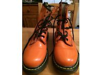 Orange Doc Marten Boots size 6UK never worn