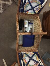 Wicker Picnic hamper basket with dishes