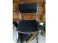 Chrome stacking chairs with imitation leather