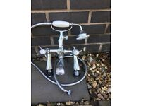 Victorian bath mixer taps with shower head