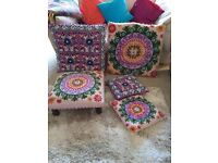 Lovely embroidered set of two floor cushions, two decorative cushions & footrest