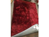 INDULGENCE SHAGGY PILE RUG 240x150cm LARGE WINE RED CARPET NEARLY NEW RRP £220