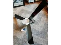 Black & Chrome Contemporary Ceiling Fan With Remote