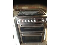 HOTPOINT 600MM WIDE DUAL OVEN WITH CERAMIC HOB STAINLESS
